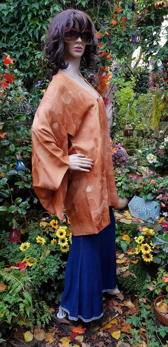 Funky Vintage Russett Orange Japanese Kimono Haor… - image 6