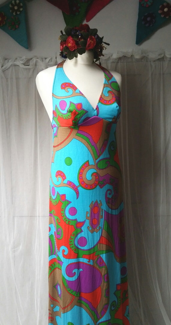 Stunning Vintage 1970s Abstract Patterned Blue, P… - image 9