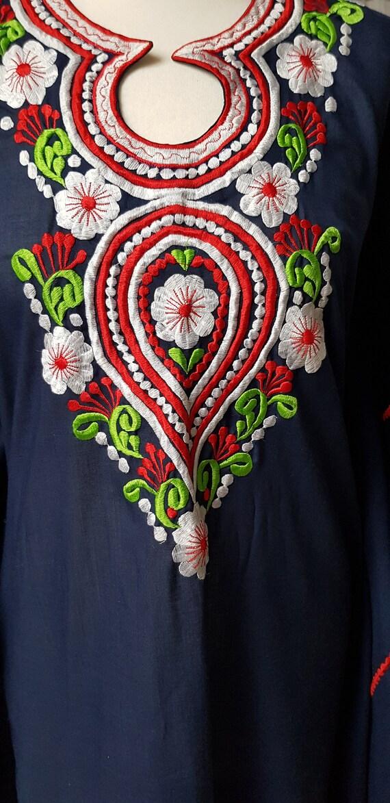 Crazy 1970s Dark Blue Embroidered Cotton Kaftan wi