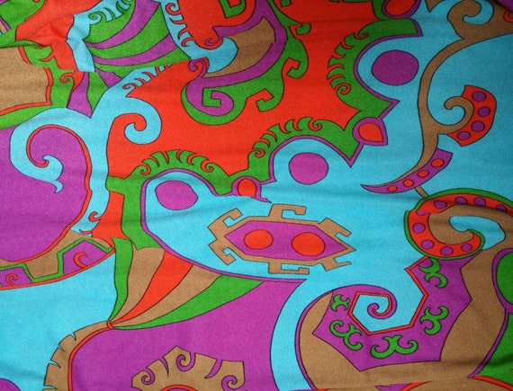 Stunning Vintage 1970s Abstract Patterned Blue, P… - image 3