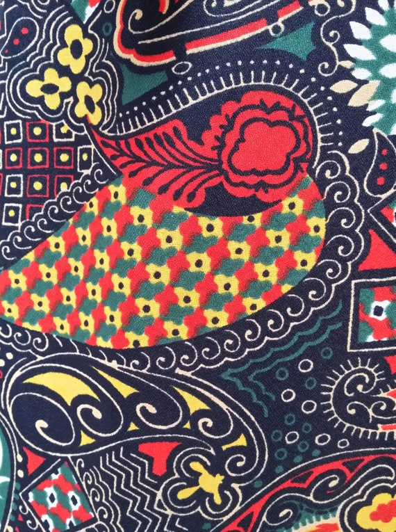 Gorgeous Vintage 1970s Psychedelic Black, Red and… - image 3