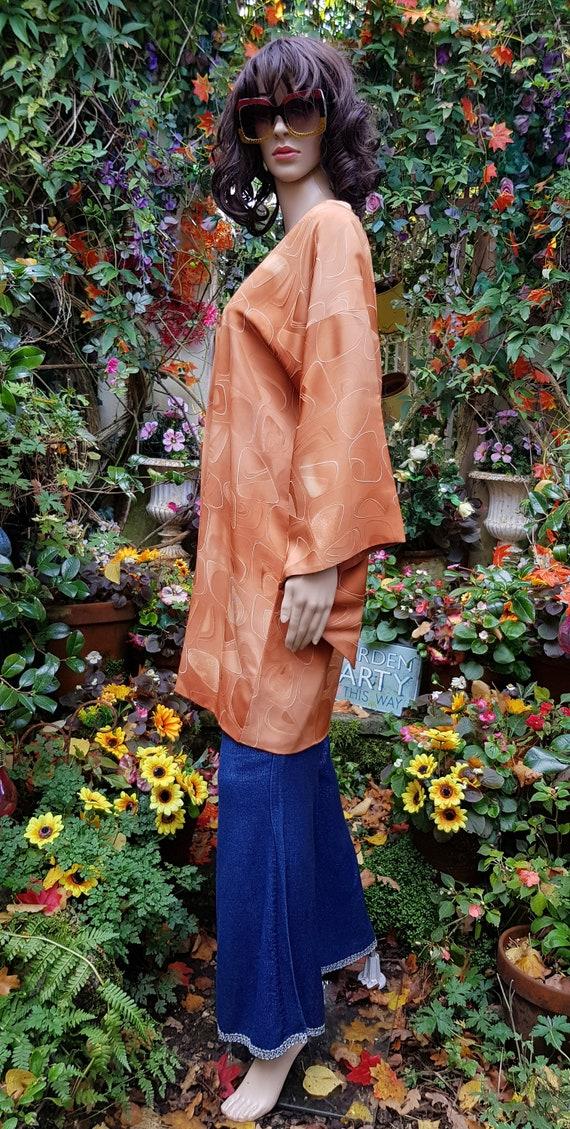 Funky Vintage Russett Orange Japanese Kimono Haor… - image 8
