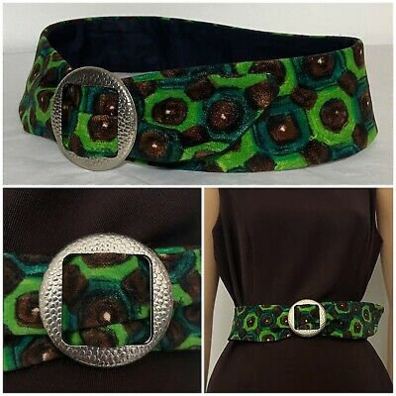 Lovely Vintage 1970s Psychedelic Green Brown and Black Abstract Print Fabric Buckle Belt