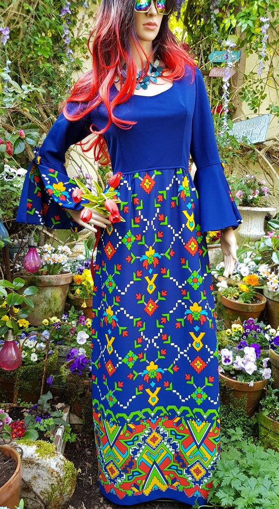 Epic Vintage 1960s Psychedelic Blue, Yellow, Red … - image 3
