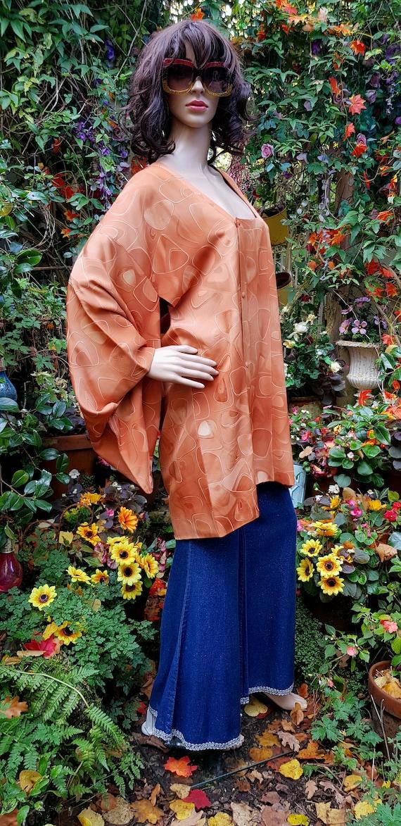Funky Vintage Russett Orange Japanese Kimono Haor… - image 5