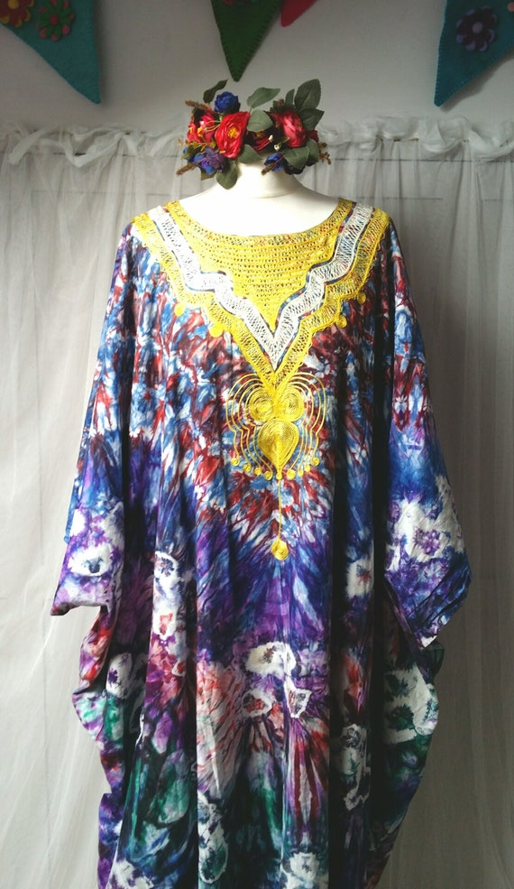 Epic Vintage 1970s Psychedelic Tie Dyed Cotton an… - image 6