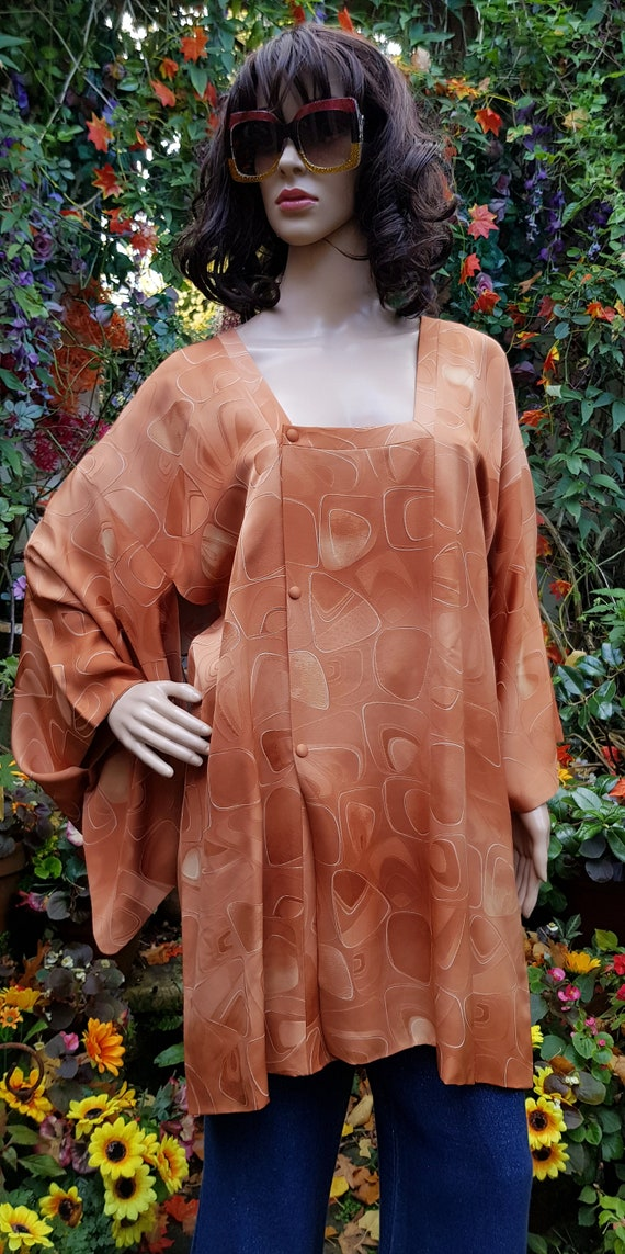 Funky Vintage Russett Orange Japanese Kimono Haor… - image 2