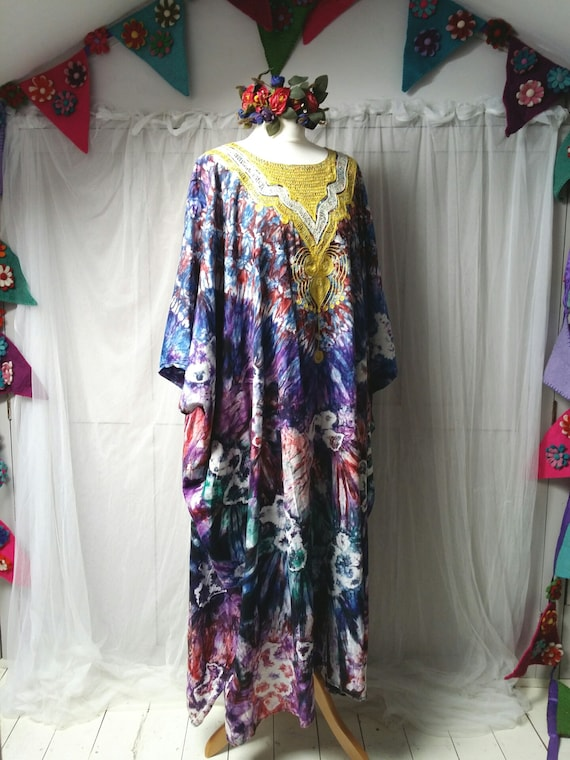 Epic Vintage 1970s Psychedelic Tie Dyed Cotton an… - image 9
