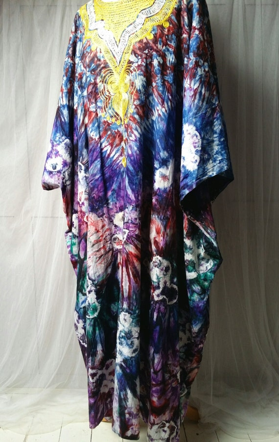 Epic Vintage 1970s Psychedelic Tie Dyed Cotton an… - image 8