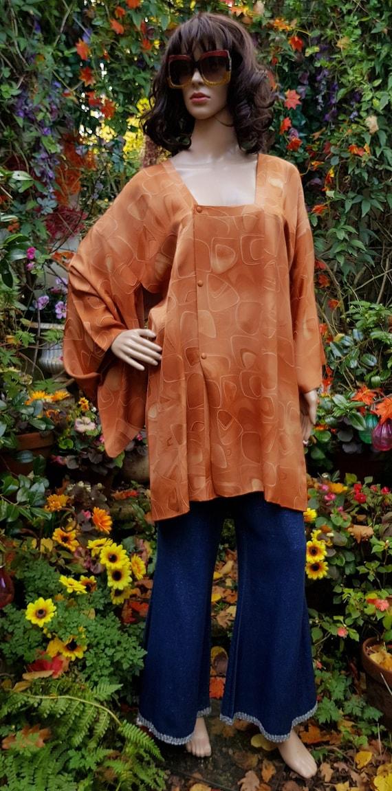 Funky Vintage Russett Orange Japanese Kimono Haor… - image 1