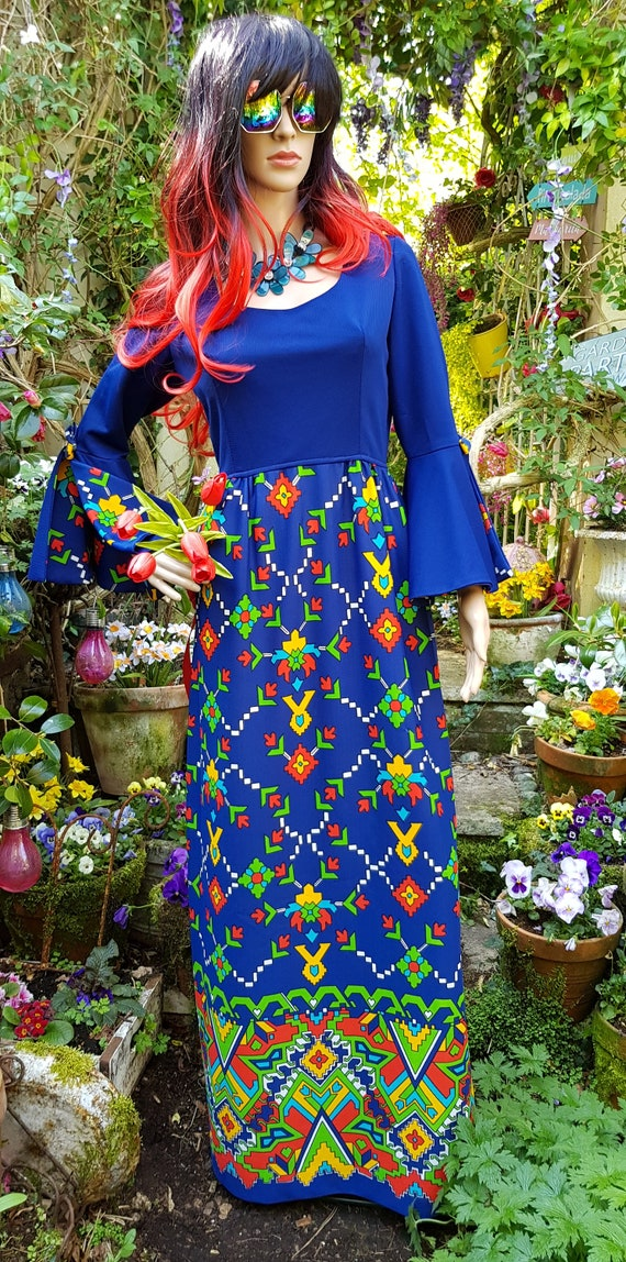 Epic Vintage 1960s Psychedelic Blue, Yellow, Red … - image 4