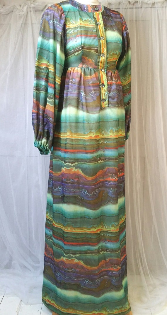 Hideously Funky Vintage1970s Multi Colour Psyched… - image 9