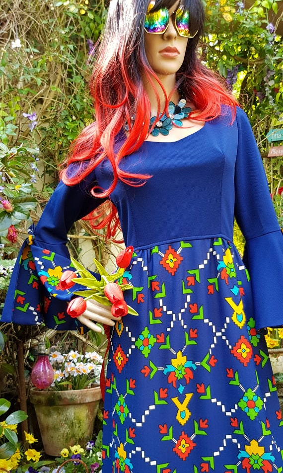 Epic Vintage 1960s Psychedelic Blue, Yellow, Red … - image 5
