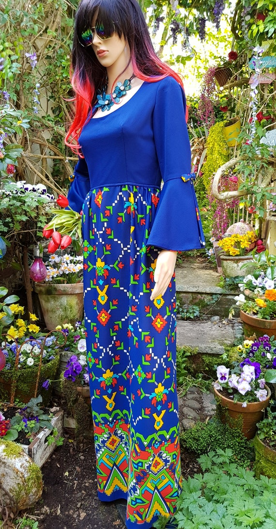Epic Vintage 1960s Psychedelic Blue, Yellow, Red … - image 8