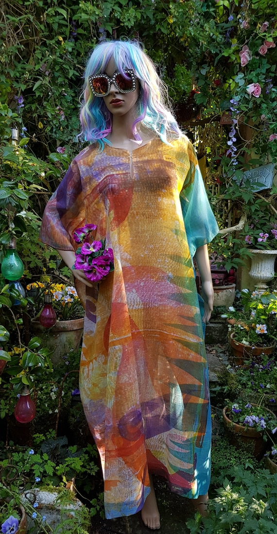 Stunning Vintage 1970s Hand Painted Blue, Yellow,