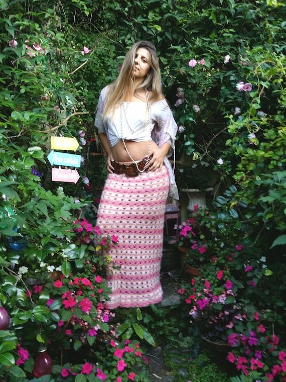 Gorgeous Vintage Pink Crochet Long Maxi Skirt (004