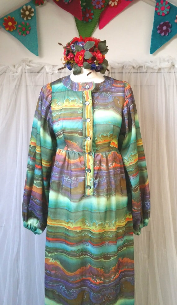 Hideously Funky Vintage1970s Multi Colour Psyched… - image 4