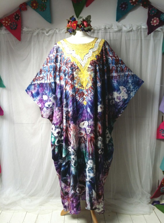 Epic Vintage 1970s Psychedelic Tie Dyed Cotton an… - image 3