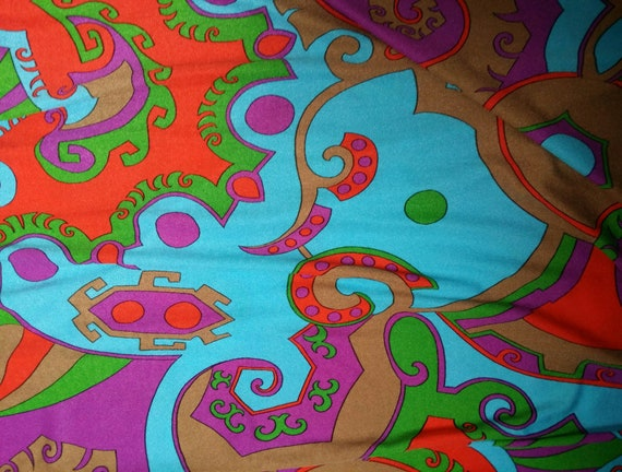 Stunning Vintage 1970s Abstract Patterned Blue, P… - image 5