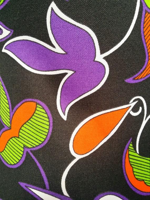 Gorgeous Vintage 1970s Psychedelic Black Purple, … - image 5