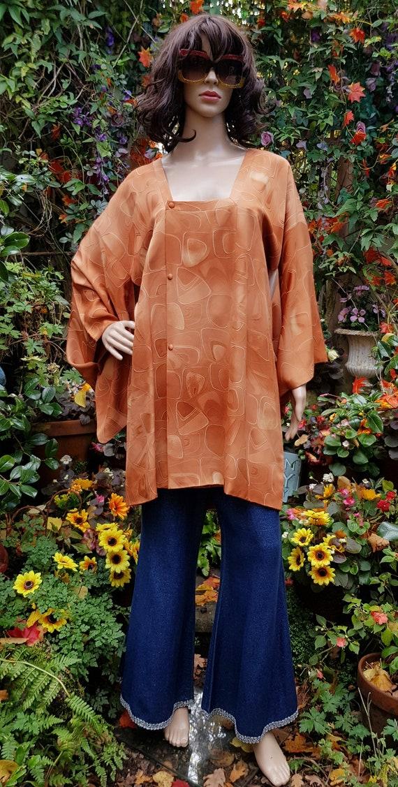 Funky Vintage Russett Orange Japanese Kimono Haor… - image 4