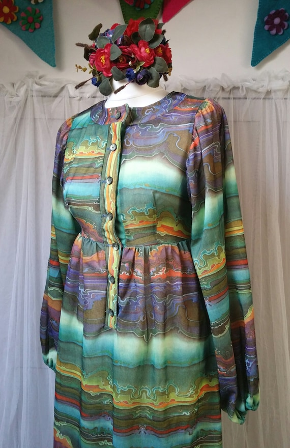 Hideously Funky Vintage1970s Multi Colour Psyched… - image 7