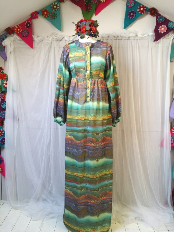 Hideously Funky Vintage1970s Multi Colour Psyched… - image 2