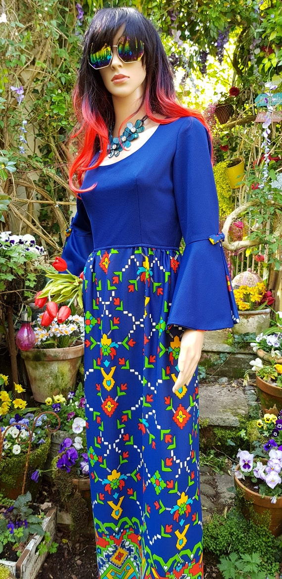 Epic Vintage 1960s Psychedelic Blue, Yellow, Red … - image 9