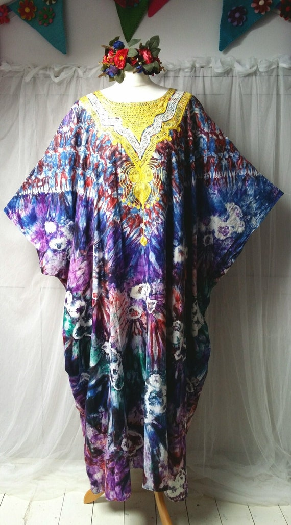 Epic Vintage 1970s Psychedelic Tie Dyed Cotton an… - image 2