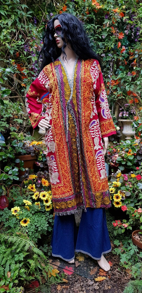 Striking Antique 1950s/1960s Red, Yellow and Multi