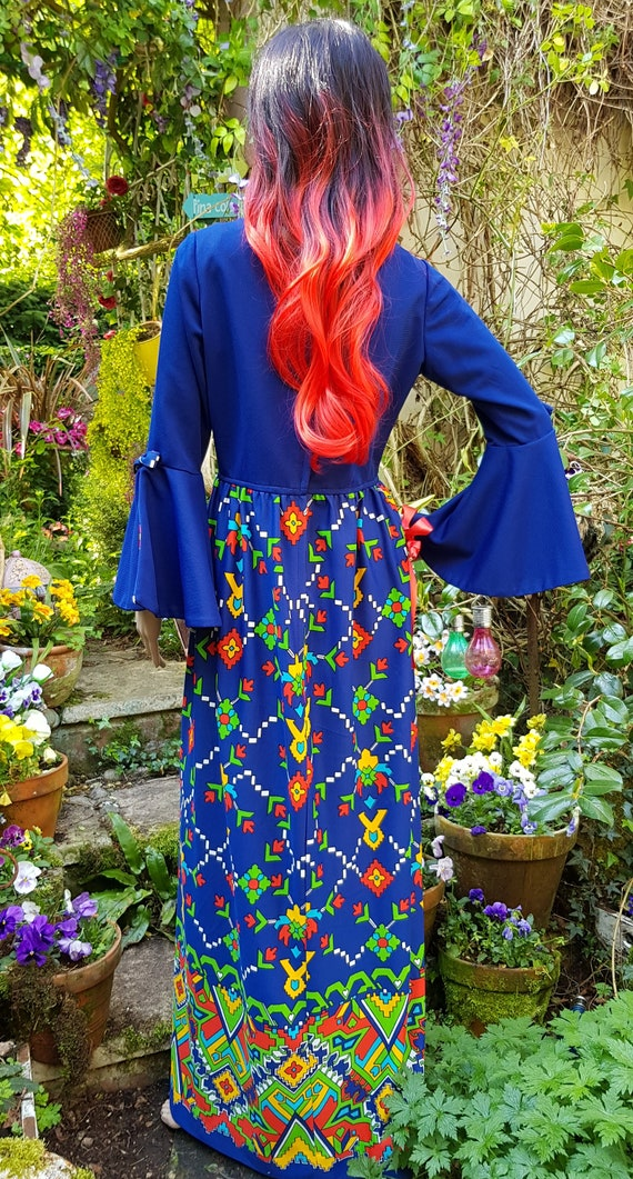 Epic Vintage 1960s Psychedelic Blue, Yellow, Red … - image 10