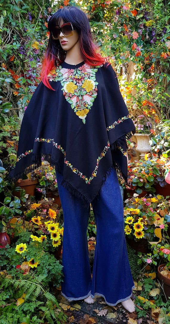 Fabulous Vintage Black and Multicoloured Embroider