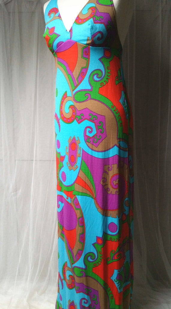 Stunning Vintage 1970s Abstract Patterned Blue, P… - image 6