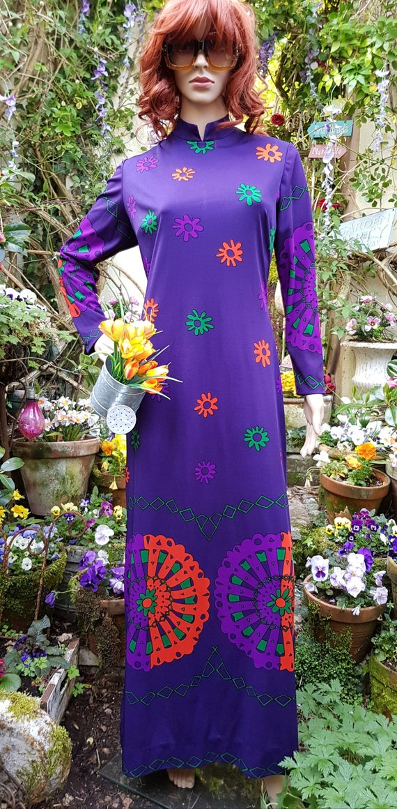 Iconic Vintage 1960s/1970s Purple, Red and Green A