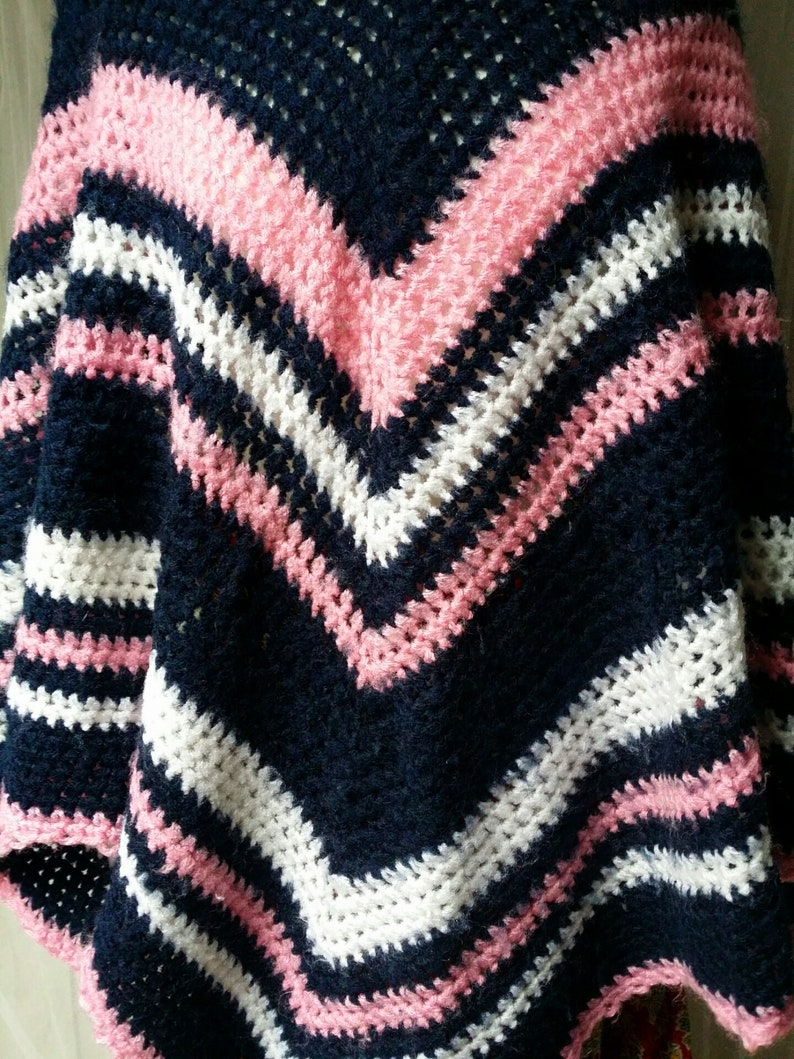 White and Pink Handmade Crochet Poncho Lovely Vintage 1970s Blue