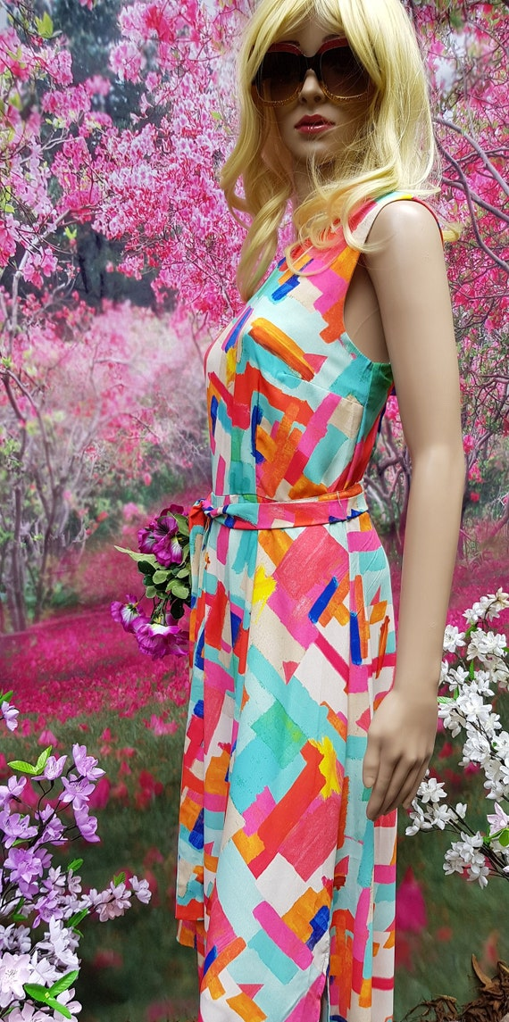Gorgeous Vintage 1970s Multicoloured Psychedelic A