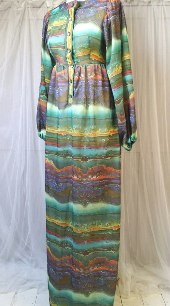 Hideously Funky Vintage1970s Multi Colour Psyched… - image 1