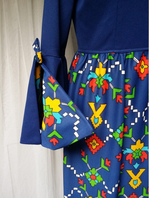 Epic Vintage 1960s Psychedelic Blue, Yellow, Red a