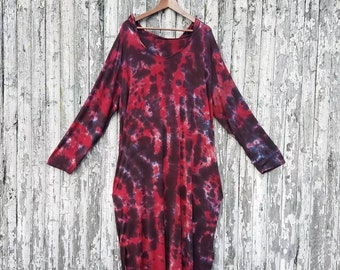 Goth Tie Dye Plus Size Hooded Dress with Pockets