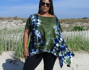 Over Sized Loose Poncho Tunic, Tie Dye Olive and Navy, Fits S-2XL