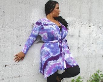 Boho Purple Tie Dye Cardigan with Belt