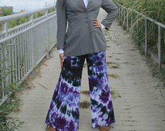 Wide Leg Palazzo Pants, Purple Tie Dye Comfy Pants