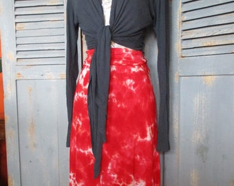 Tie Dye Maxi Skirt, Long RED Gypsy Skirt, XS-3XL