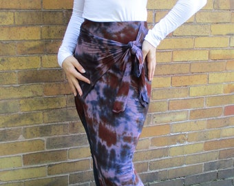 Wrap Maxi Skirt with Front Slit, Tie Dye Long Skirt