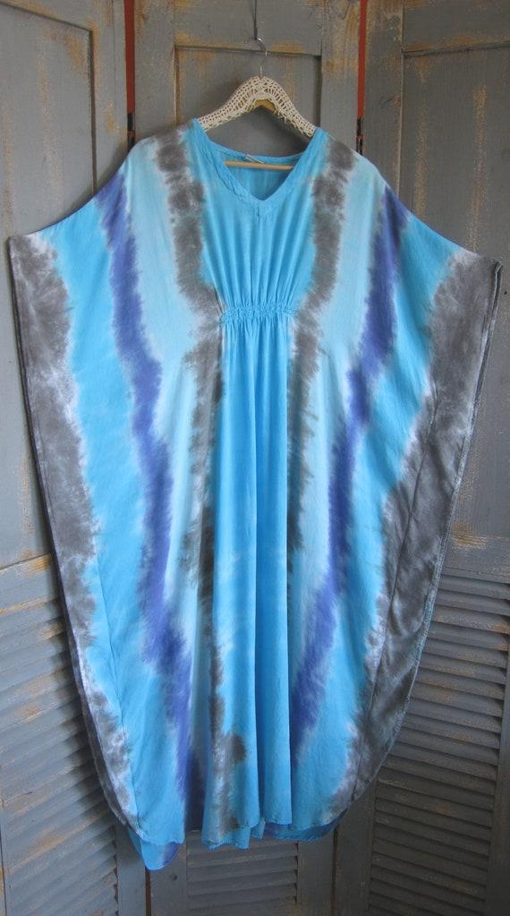 Tie-Dyed Long Kaftan Bohemian Maxi Dress Blue Cover Up Aqua Blue Butterfly Caftan Loose Dress Tie-Dye Boho Dress