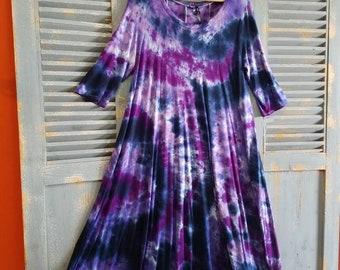 Flowy Curvy Midi Dress, Purples, Tie Dye Boho Dress, Plus Size; 3Xl