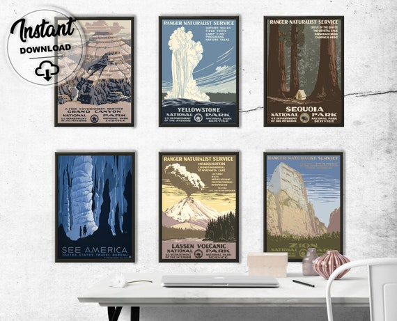 Set Of Vintage Usa National Park Posters Extra Large Wall Art Etsy
