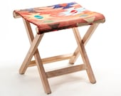 Folding Chair - Vintage Kilim Rug Covered Folding Stool