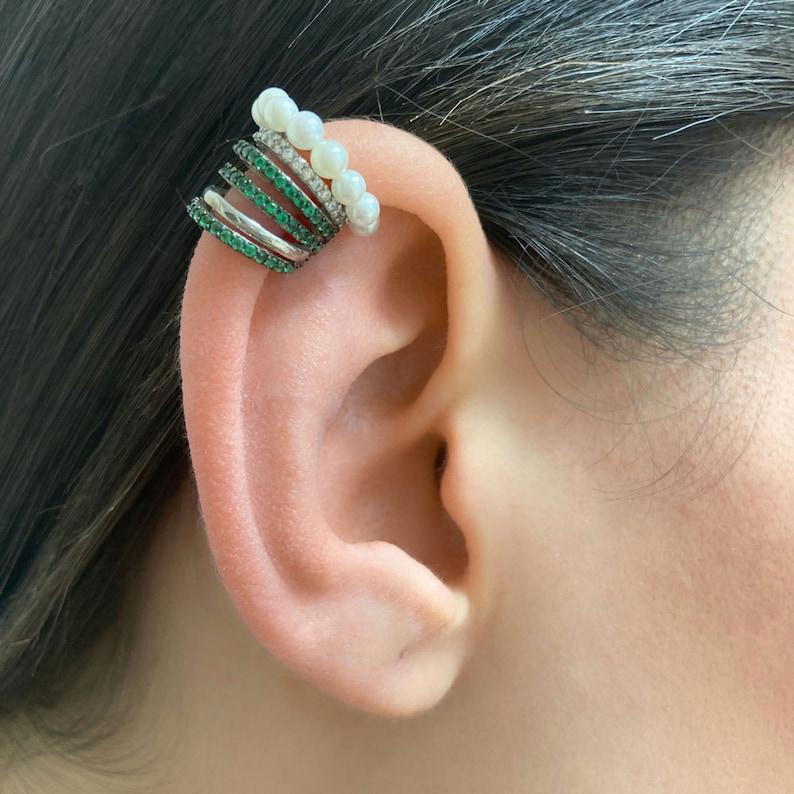 Women  Ear Cuffs Summer Earrings 925 Sterling Silver Women Gift \u0130deas Ear Cuffs Six Rows Pearl Ear Cuffs Earrings