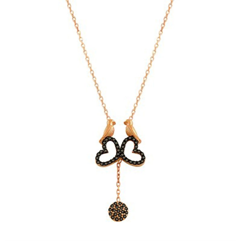 Heart Charms Rose Gold Necklaces Double Bird Heart Necklaces with Black Onyx Stones Double Bird Heart Necklaces Friendship Necklaces,